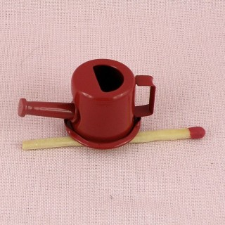 Miniature Metal red enemaled can watering 23 mms hight