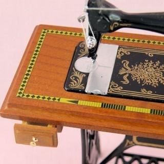 Sewing machine doll miniature luxurous