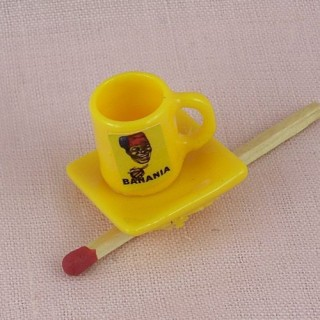 Miniature Banania mug and plate dollhouse