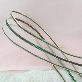 Ruban, galon holographique et or, 3,7cm, 37mm.
