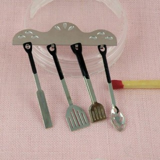 Miniature cooking set with rack doll house kitchen