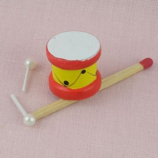 Miniature drum and sticks dollhouse toys