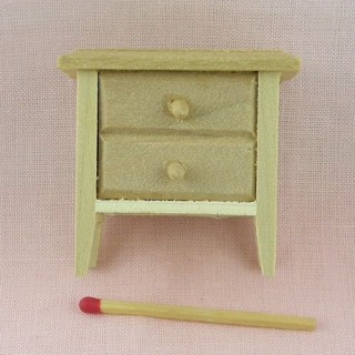 Table de nuit miniature maison poupée, chevet miniature bois brut .