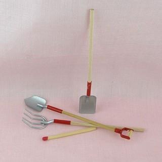 Outils pelle fourche miniatures jardin 10 cm