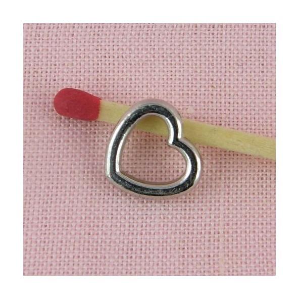 Heart hollowed, pendant, charm half engraved, 15mm,