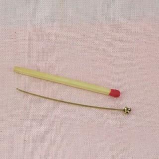 Attache tige pour perles en métal à vis, 6 cm.
