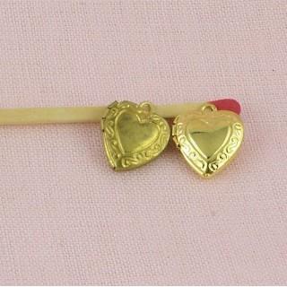 Pendentif, breloque cœur creux, bijou poupée, 1,2cm