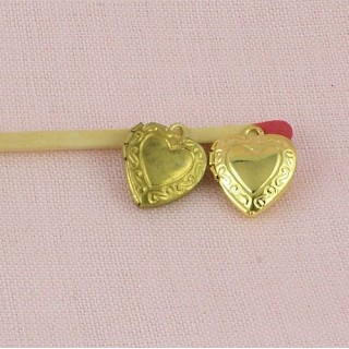 Engraved Pendant convex heart, doll jewel 13 mms.