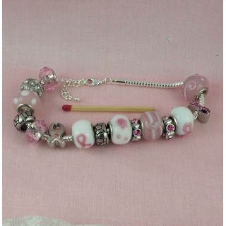 Bracelet kit metal lined beads 14 mms.