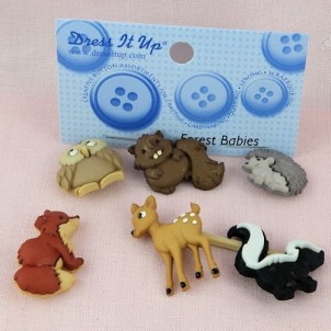 Buttons animals jungle zoo Dress It Up,
