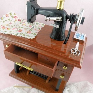 Sewing machine doll miniature with fabric