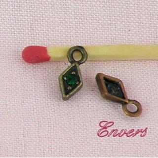 Pendentif, breloque,Losange strass, bijou poupée, 1,1cm