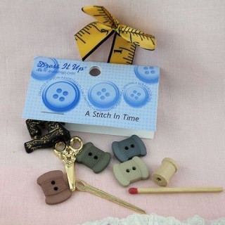 Sewing room buttons, ribbon Dress it up