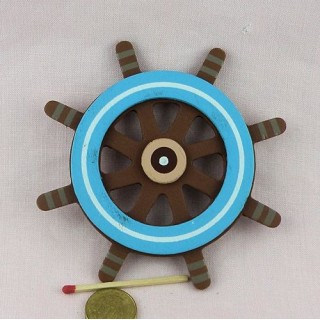 Wooden painted pirate captain wheel, 10,5 cms