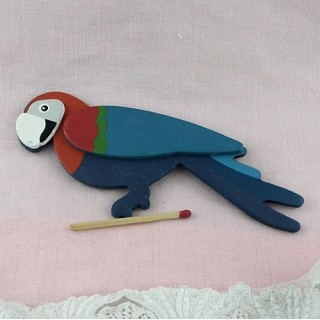 Wooden painted pirate parrot 13 cms