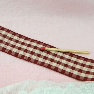 Check taffeta ribbon, vintage, 2,5cm