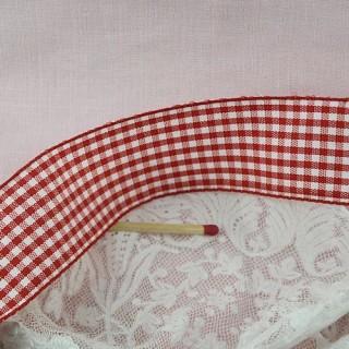 Check taffeta ribbon, vintage, 3 cms