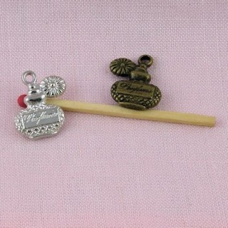 Sèche cheveux miniature, breloque métal 2,3 cm, 23 mm.