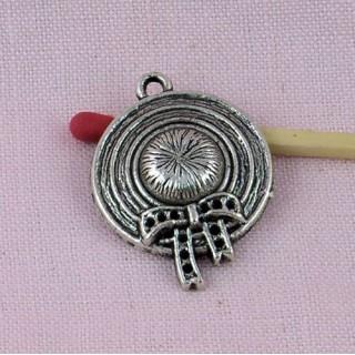 Sterling bracelet charm Wide-brimmed hat, pendant 3 cms
