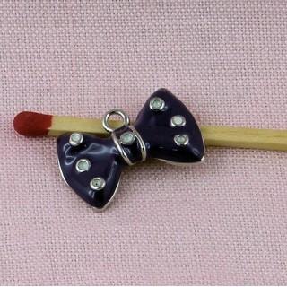 Breloque Noeud métal émaillé, décoration, breloque, charms 1,4 cm.