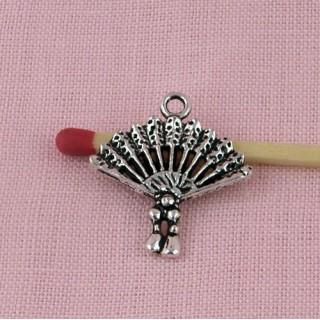 Pendant fan, bracelet charm, feather fan miniature for doll.