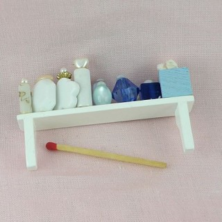 Vanity tray miniature, cosmetic long shelf doll house Toiletries