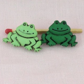 Bouton animaux ferme étang GRENOUILLE 25 mm.