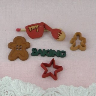 Christmas ginger cookies buttons, embellishments