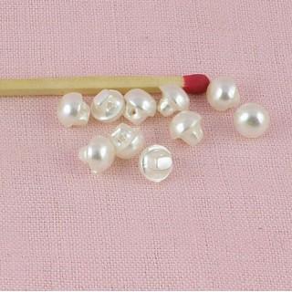 Boutons perle nacrée boule à pied 6 mm.