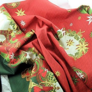 Coupon of Christmas cotton fabric printed in Alsace