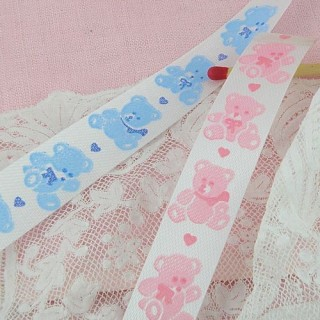 Unwired acetate satin ribbon with bears 14 mm.