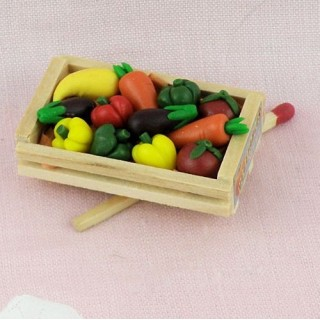 Vegetable wood crate miniatures for doll and dollhouse
