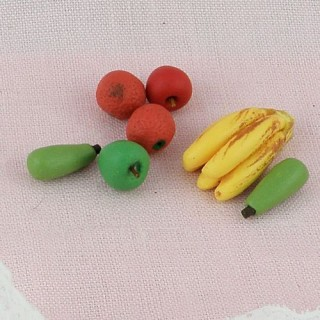 Pears, apples, bananas, fruits miniatures for doll, 1 cm.