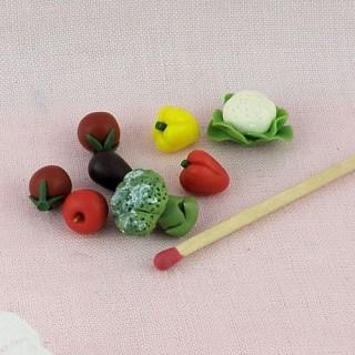 Cabbage, pepper eggplant vegetables miniatures for doll, 1 cm.