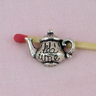 Bouilloire miniature métal, breloque, 1,7cm diamètre.