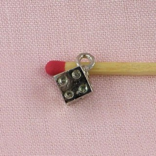 Cube, bracelet charm, jewel doll, 8mm diameter