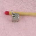 Cube, bracelet charm, jewel doll, 8mm diameter