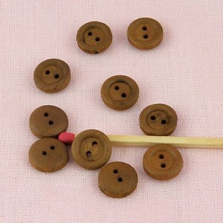 Small Wooden edged  buttons, button in wood 10 mm, 1 cm.