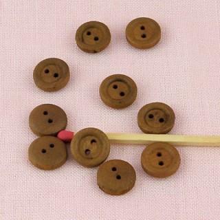 Boutons bois 2 trous 1 cm.