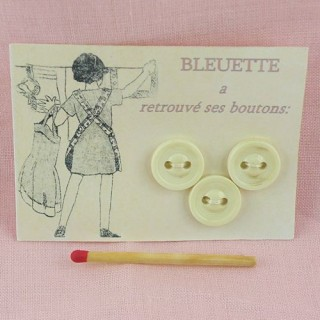 3 Vintage overcoat Bleuette two holes buttons card.