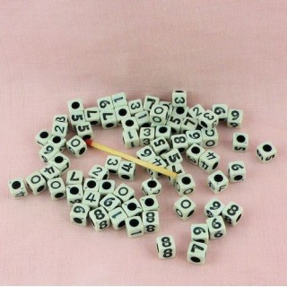 Cube  Number plastic beads 8o pieces 7 mms.