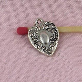 Heart tiny, small pendant, charm , doll jewel heart, 11 mms