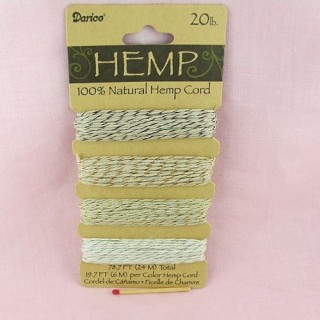24 meters of Fine Hemp Cord in 4 colors, 0,8 mm