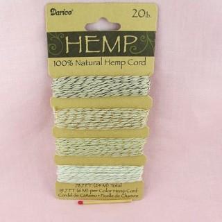 24 meters of Fine Hemp Cord in 4 colors, 0,8 mm