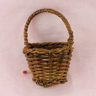Fern round basket miniature doll decoration 5 cms, 2""