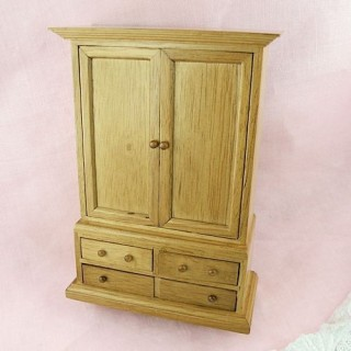 Oak wardrobe with drawers, doll house bedroom furnitures