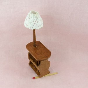 Lampe table rétro salon porte journaux bois décoration miniature maison poupée..
