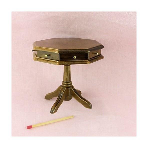Table Octogonale Bois Meuble Miniature Maison Poupe