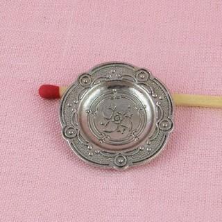 Doll miniature round metal Piewter dish, 26 mms