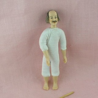 Miniature  old man character doll 1/12, luxurous and articuled